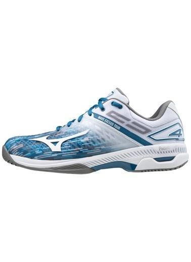 Mizuno Wave Exceed Tour 4 AC Unisex Tenis Ayakkabısı Mavi / Beyaz Beyaz